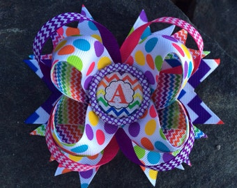 Chevron Personalized Initial Boutique Bottlecap Hairbow