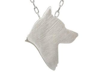 Husky necklace, Husky charm, Husky jewelry, Husky silhouette - Sterling Silver dog necklace, custom dog jewelry, dog charm pet memorial gift
