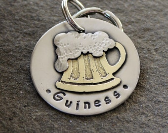 Large Dog ID tag- Metal Pet Tag with Beer- Frothy Beer pet tag