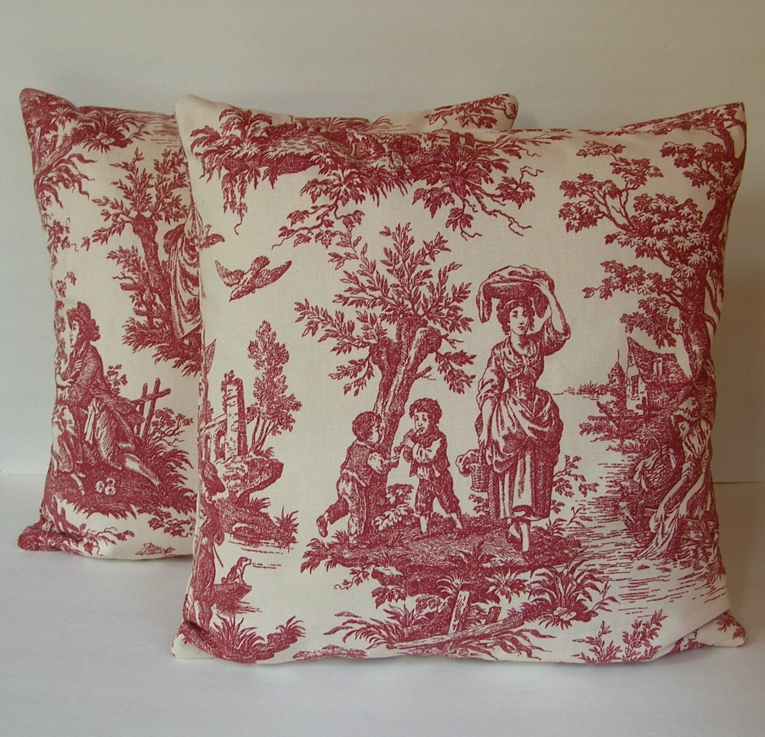 two 2 decorative red and cream toile pillow covers made to. Black Bedroom Furniture Sets. Home Design Ideas