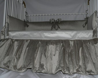CRIB Skirt TO FULL Skirt Conversion- Platinum/Metallic/Neutral color Silk Baby Crib Bedding Set with optional Rhinestone bow detail