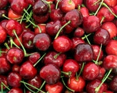 Wet Red Cherries, Watercolor Photographic Print, Luscious Rich Red Cherries, Sweet, Love, Macro Food Photo, Graphic Art, FREE SHIPPING USA