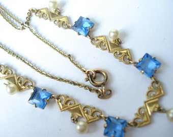 Art Deco Necklace Blue and Faux Pearl Glass 1930's GF Rolled Gold 1920's