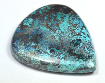 40mm blue AZURITE cabochon drop shape with Chrysocolla and Hematite 66ct 446570