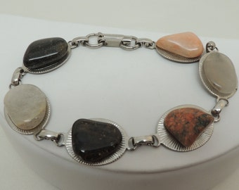 Vintage Silver Bracelet with Polished Stones