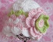 New Baby Girl Crochet  Hat -  Girl Hat  -  Newborn Beanie