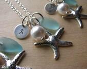 Aqua Sea Glass Jewelry Initial Starfish Charm Beach Glass Monogram Necklaces Bridesmaids Personalized Beach Wedding