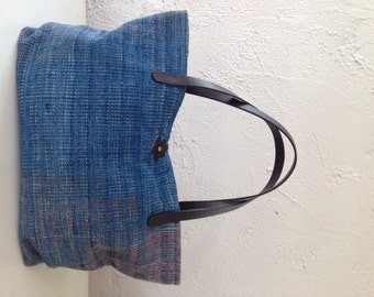 Handwoven Tote Bag, Unique Tote Bag, OOAK with Genuine Leather Handles