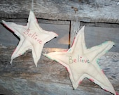 Set of 2 Believe, Hand Embroidered, Large Christmas Flying Stars, Rag Stars, Patchwork, Wall Hangers, Bowl Fillers, Tucks