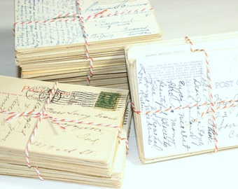SALE Postcard Craft Pack -  50 Postmarked, Stamped and Written on Postcards - 1900-1950s