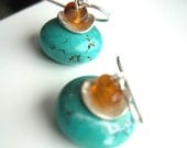 Beaded turquoise earrings, sterling silver, orange and blue earrings, pastel jewelry