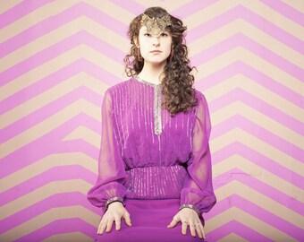 Vintage 1970s Purple Beaded Floor Length Gown