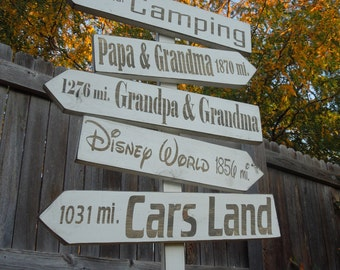 Custom/Personalized Directional 5 Arrow Backyard Favorite Places Painted Sign