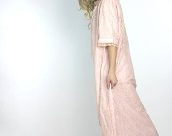 Vintage 60s Robe Pink Pretty Baby Peignoir Long Lace Dressing Gown Robe