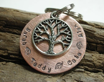 Family Tree Keychain-Custom Handstamped Keychain-Keepsake Family Tree Keychain-Mothers Day Gift-Customized Keychain