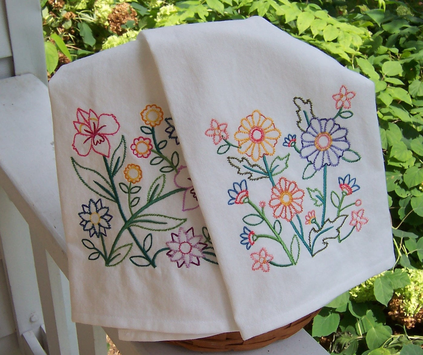 Flowers And More Flowers Embroidered Tea Towel Set Of