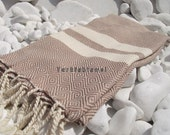Turkishtowel-2014 Spring Collection-Hand woven,20/2 cotton warp and weft,Diamond Turkish Bath,Beach Towel-Milky coffee,natural cream