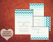 Diy PRINTABLE Save The Date Design Pdf CHEVRON CHIC Modern Beach Wedding Invitation Suite Engagement Party Stripe Blue Template Digital File