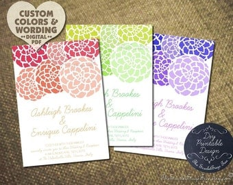 DIY Invitation Printable PEONY Floral Design Pdf Wedding Program Suite Engagement Party Bridal Shower Template Rustic Spring Summer Purple