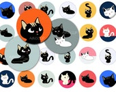 1 inch Circle Cute Kittens-  Original Designs for Pendant,ScrapBooking and Bottle Cap-Small Commercial Use