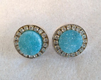 Light blue druzy and austrian crystal sterling silver earrings