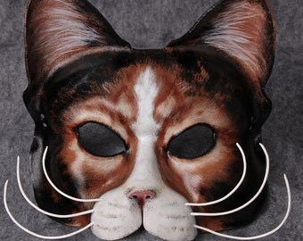 Soft Kitty, Warm Kitty, Cat Mask, Calico Kitty, Feline, Leather Cat Mask, Meow