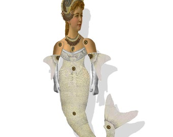 Mermaid Doll  Fairy Tale Paper  Doll Articulated steampunk downloadable