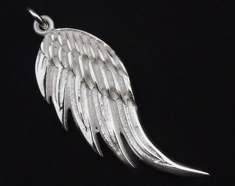 1 of 925 Sterling Silver Angel Wing Pendant 14x34mm. :th1742