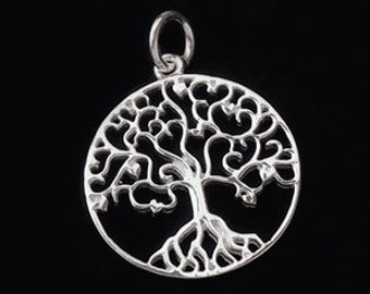 1 of 925 Sterling Silver Tree of Life Pendant  20 mm.  Polish Finished :th1823