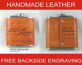 Set of 8 Groomsmen Gifts - Handmade Leather Flasks  Personalized Flask with FREE Backside Engraving