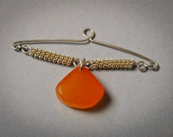 Vintage metal  tie embellishment with pressed Baltic Amber charm