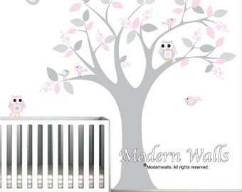 vinyl wall decals nursery tree with pattern leaves owls birds-wall decal