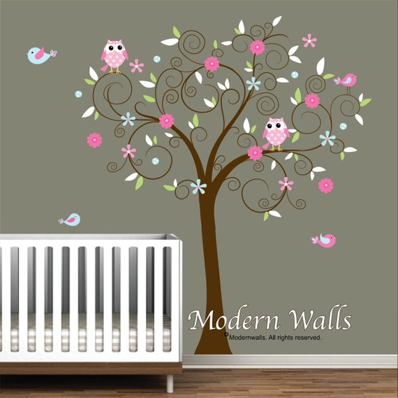 Vinyl Wall Decal Sticker-Tree with Flowers Birds-Kids