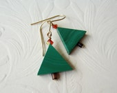 Christmas Tree Earrings-Malachite-14K Gold Filled - AboveAverageJewelry