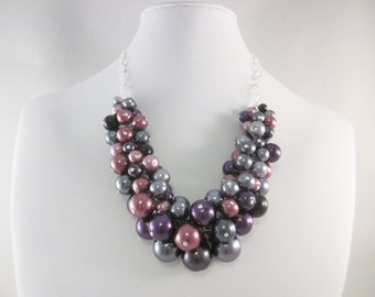 "Pearl Cluster Necklace in ""Goth Romance"" - Chunky, Choker, Bib, Necklace, Wedding, Bridesmaid, Formal, Party Pearls, SRAJD"
