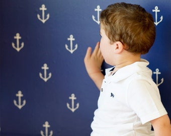 Sarah Jane Anchors Away WALLPAPER - Removable, Re-usable, FABRIC, Eco-Friendly, Non-Toxic. Easy Application. No Mess. No Glue Pop & Lolli
