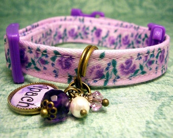 Safety cat collar - Personalized Name Charm - Breakaway Cat Collar - Mini Dog Collar - Toy Dog Collar      - Antique Brass - Purple Roses