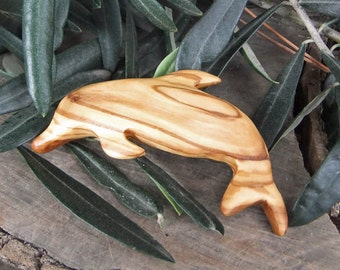 Dolphin hair barrette, hand carved Olive wood