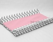 Designer Contour Changing Pad Cover - Gray Chevron - Solid Pink Cotton or Minky - Emery
