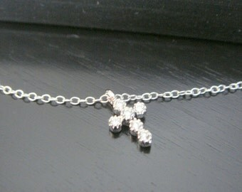 Sterling Silver Mini Small Crystal Cross Necklace Earrings Bridal Bridesmaids Special Ocassion Birthday Christmas Cubic Zirconia Necklace