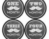 Baby Monthly Stickers FREE Baby Month Milestone Sticker Baby Month Stickers Baby Boy Bodysuit Stickers Chalkboard Black Mustache 032B