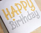 Happy Birthday card, bright cheerful card, for men, teenagers, Letterpress Card in sunshine yellow and silver grey simple and bright