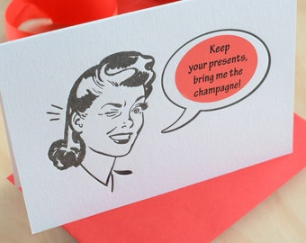 Witty, funny christmas card, card for him, Retro Christmas Gal letterpress sticker card Mad Men style, choose a sticker for the occasion