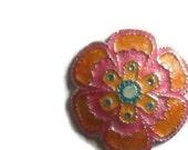 Orange Flower Button
