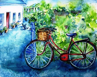 My Red Bike-  Fine art watercolour  Print -archival quality