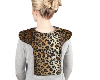 Leopard Neck Shoulder Heat Wrap Hot Cold Pack, Washable Anti-pil Fleece Cover, Cotton Insert, Size Large