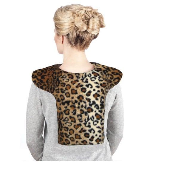 Leopard Neck Shoulder Heat Wrap Hot Cold Pack, Washable Anti-pil Fleece Cover, Cotton Insert, Size Large