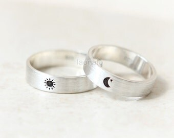 Sun and Moon Ring in sterling silver, Couple Rings--Custom Personalized Initial Ring