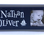 Sailboat Nursery Decor Art NAVY BLUE and GRAY Nautical Decor Personalized Baby Nursery Picture Frames, Decor Photo Frame Custom Order Gifts