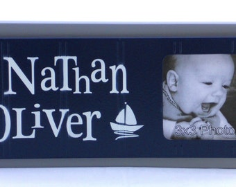 Sailboat Nursery Decor Art NAVY BLUE and GRAY Nautical Decor Personalized Baby Nursery Picture Frames Decor Photo Frame Custom Name Gifts